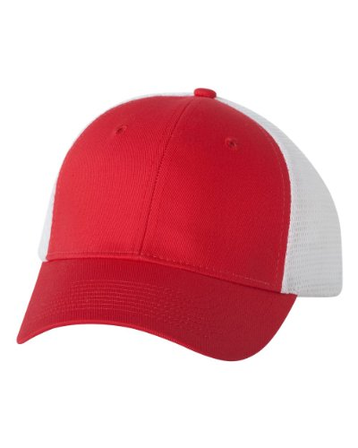 Valucap VC400 Twill Trucker Cap Red/ White Adjustable