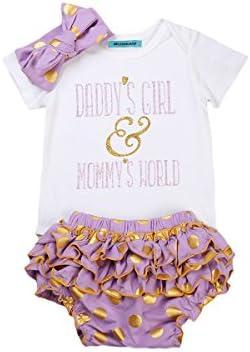 Newborn Baby Girls Clothes Rompers+Ruffel Pants Shorts+Headband 3PCS Outfits Set