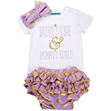 Mornbaby Newborn Baby Girls Clothes Rompers+Ruffel Pants Shorts+Headband 3PCS Outfits Set