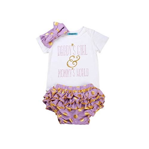 Mornbaby Newborn Baby Girls Clothes Rompers+Ruffel Pants Shorts+Headband 3PCS Outfits Set (3-6M, 2-Day - Shipping 2 Day