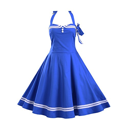 [Women's Vintage Halter Party Cocktail Dress 1950S Audrey Retro Rockabilly Swing Homecoming Dresses (M,] (70s Look For Women)