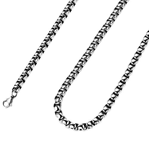 (Estendly 3mm 16-38In Stainless Steel Rolo Chain Necklace Crude Solid Link Chain Necklace for Men Women Jewelry)