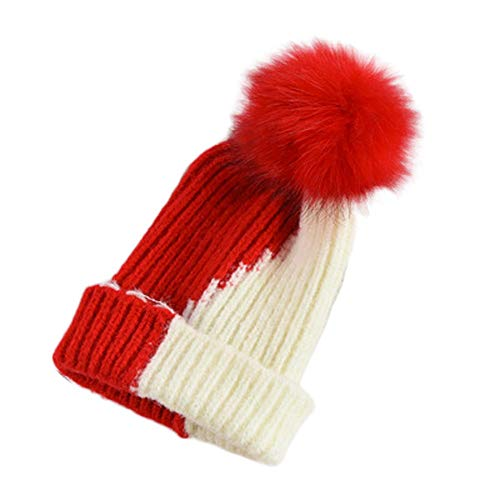Fineser Baby Hat, Cute Fall Winter Kids Old Baby Girl Boy 1-9Years Hairy Ball Keep Warm Double Color Knitted Wool Hemming Hat (Red) ()