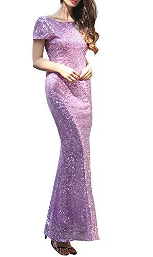 Vestido espalda de Large 5 Xx abierta mujer Purple para P4pwnqzxf