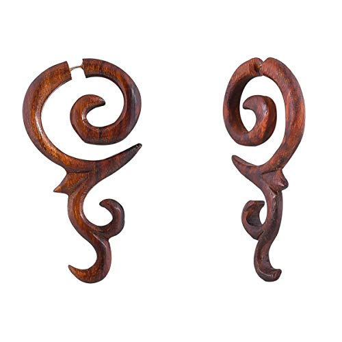 Crafted studio Women's Tibetan Antique Wooden Carved African Tribal Big Fake Gauge Earrings 2.7