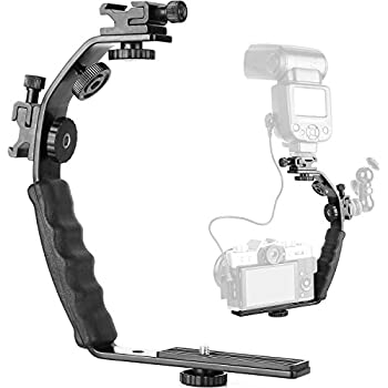 """ChromLives Camera L Bracket Mount Video Grip L-Bracket With Dual Flash Cold Shoe Mount 1/4"""" Tripod Screw, Heavy Duty Padded Hand Grip for Dslr Camera Camcorder (Updated)"""