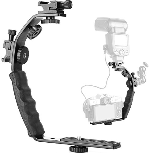 ChromLives Camera L Bracket Mount Video Grip L-Bracket with Dual Flash Cold Shoe Mount 1/4