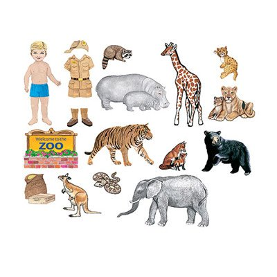 Little Folk Visuals My Zoo Friends Precut Flannel/Felt Board Figures, 17 Pieces Add-On Set