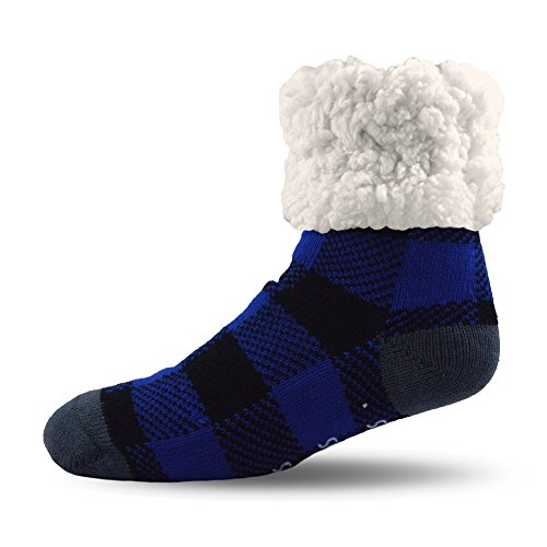 PUDUS Brand Slipper Socks (Lumberjack Blue), One Size (As Things Change They Stay The Same)