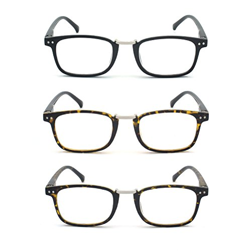 EYE-ZOOM 3 Pairs Classic Reading Glasses Spring Hinged Temples with Soft Reader Pouch for Comfort Fit Men and Women Choose Your Magnification, Black, Matt Tortoise and Brown Tortoise, 3.00 Strength