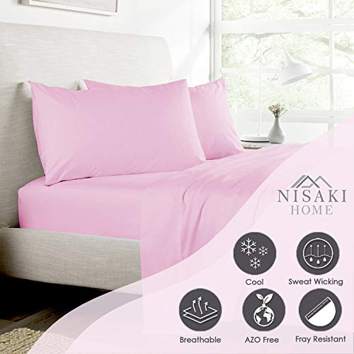 Nisaki Cotton Sateen Twin Bed Sheets Set Lilac Pink, 3pc 100% Long Staple Cotton Twin Bedding Sets, Soft Sateen Weave Twin Sheets Fits Upto 15 inch Deep Pocket (Cotton Sateen Twin Sheet Set)