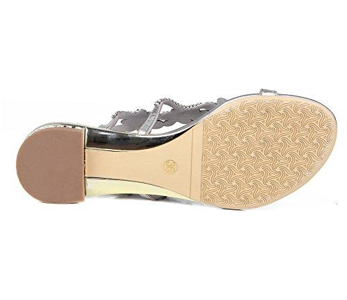 Señoras En Plano Silver De Verano Imitación Bohemia Mujer Chancletas T Zpl Zapatos Playa Diamante Correa Sandalias fFqSFwA