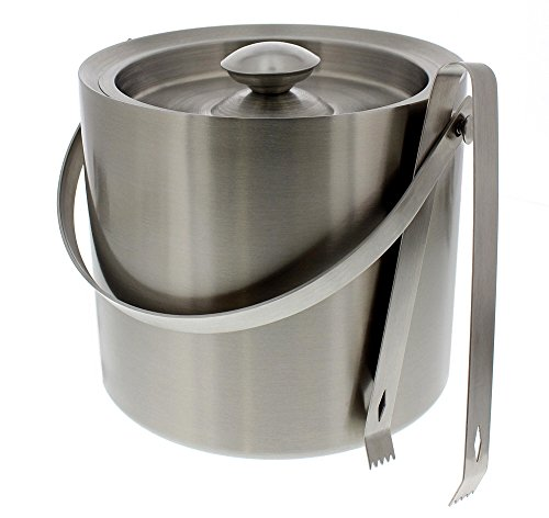 Stainless Steel Ice Bucket With Tongs - Silver Barware Serveware for Parties Events Gatherings - 7.5
