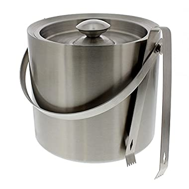 Stainless Steel Ice Bucket With Tongs Set - Silver Barware Serveware for Parties Events Gatherings - 7.5  x 7.5  by Juvale