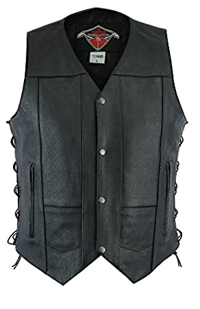 Texpeed Black Naked Cowhide Leather Motorcycle/Motorbike Waistcoat - S-10XL WC-DES-NKD-XL