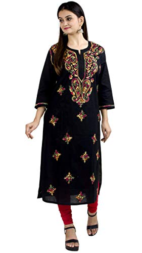 Chandrakala Women's Chikankari Embroidery 100% Cotton Indian Ethnic Tunic Top Kurti Kurta(K149)