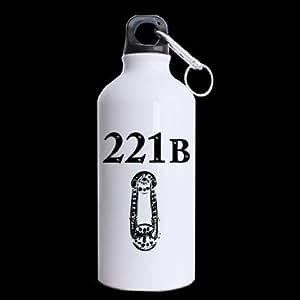 Sweetshow Custom 221B Fonts Sports Fitness Water Bottle Travel Mug 100% Aluminum - 13.5 OZ Twin Sides