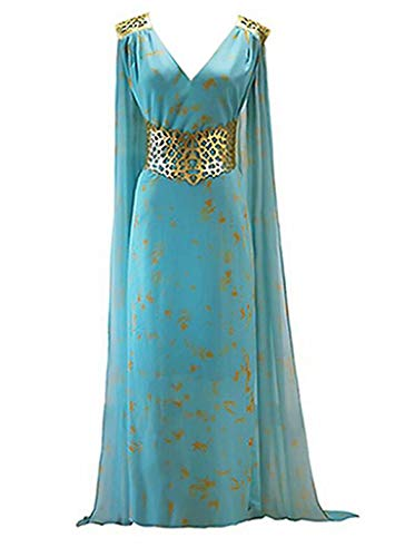 Thrones Daenerys Targaryen Cosplay Costumes Dragon Mother Blue Long Dress for Women]()