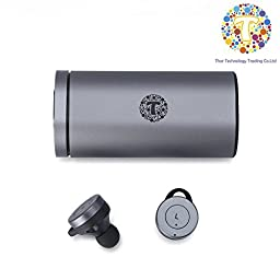 Thor shocking True Wireless Bluetooth earphone Earbuds with Charging Case (Android IOS) -T2 (Grey)