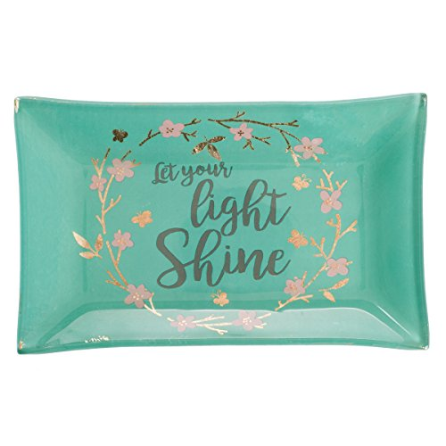 Let Your Light Shine Glass Trinket Dish in Gift Box, Green - Butterfly Green Trinket Box