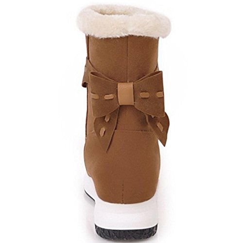 COOLCEPT Damen Stiefel Ohne Verschluss Low Hidden Heel Brown
