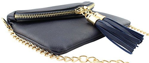 leather tassels crossbody detail Soft small detail shoulder bag with envelope Black chain q1wZdfd
