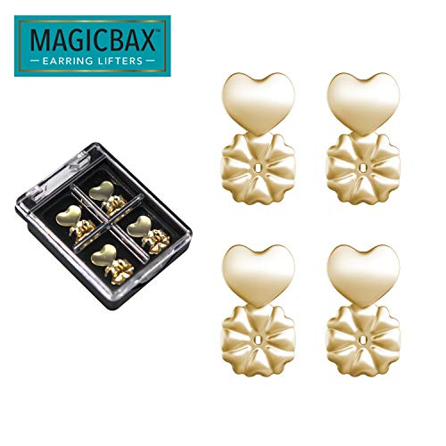 Magic Bax Earring Lifters - 2 Pairs of Adjustable Hypoallergenic Earring Lifts (2 Pairs of 18K Gold Plated Earring Backs) As Seen on TV (Best Earrings For Large Earlobes)