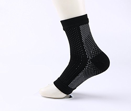 Plantar Fasciitis Socks Ultimate Ankle Compression Sleeves Pair For Men & Women Best Foot Arch Heel Support Socks For Pain Relief Enhanced Circulation In Sports Running Travel Black Size L/XL by Yoille