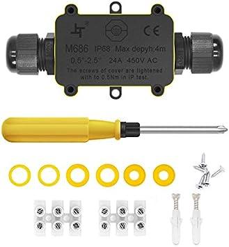 Cajas de Empalmes,IP68 Caja de Conexiones Impermeable Eléctricas para 4 mm-9 mm Diámetro del Cable,Conector Exterior Cable (1 Pack): Amazon.es: Bricolaje y herramientas