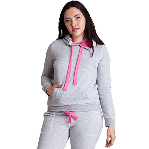 49b36f1b2c451 Woman Plus Size Heather Gray Kangaroo Pocket Thick Drawstring Contrast  Hoodie low-cost