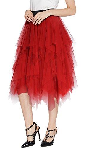 Urban CoCo Women's Sheer Tutu Skirt Tulle Mesh Layered Midi Skirt (XL, Red)