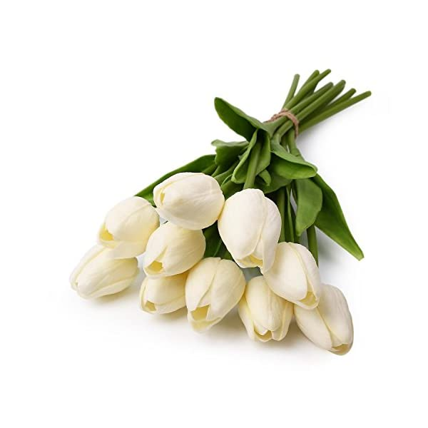 Homyu Artificial Tulips Single Stem PU Touched 10 Pcs Arrangement Bouquet with Glorious Moral for Home Office Wedding Parties (White)
