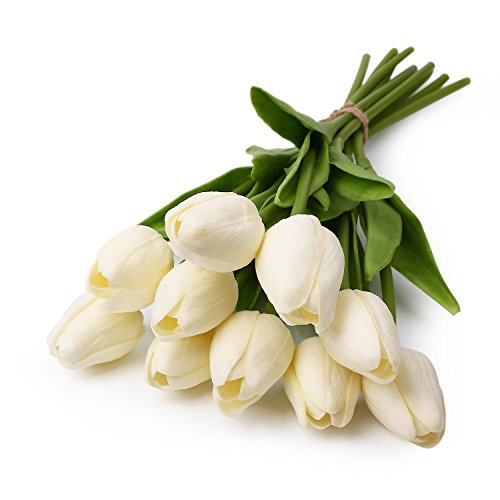 - 10 pcs White Tulip Flower Latex Real Touch For Wedding Bouquet KC451