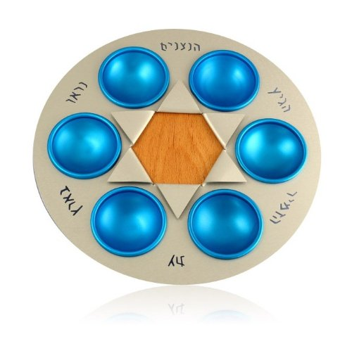 Metal Passover Seder Plate with Blue Bowls from Shraga Landesman (Metal Seder Plate)
