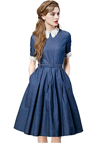 Artka Women's Lace Embroidered Collar Work Denim Dress With 3/4 Sleeve Pleated Swing Skirt With Invisible ()