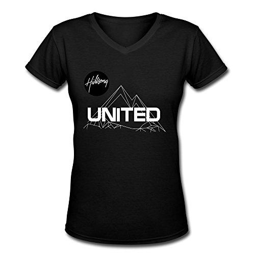 AOPO Hillsong United Band V-Neck Short Sleeve T-shirt For Women Large