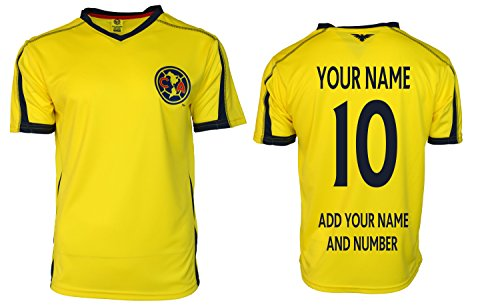 Club America Adults Soccer Jersey Performance Add Your Name and Number (L, Yellow T1A13)