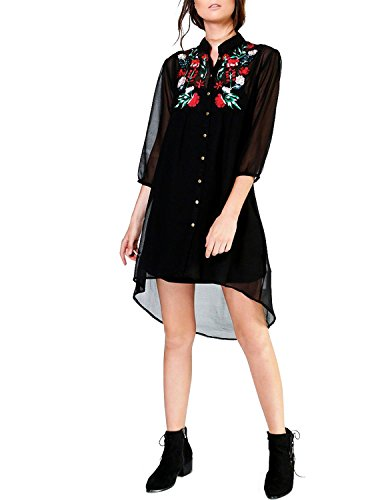 HaoDuoYi Womens Sexy Floral Embroidery A Line Dress(S,Black) (Sexy Western Dress)