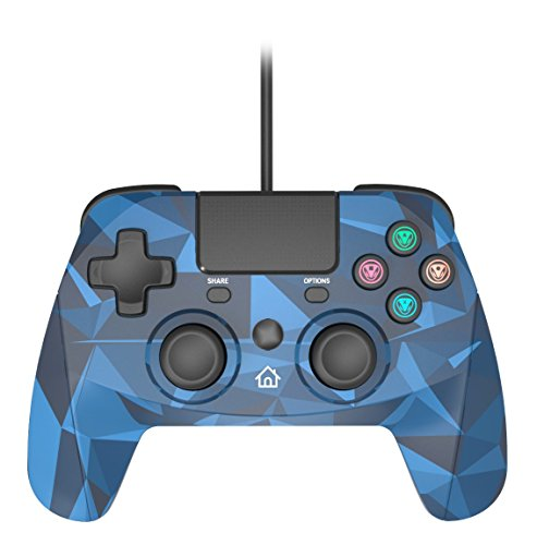 Snakebyte Gamepad S - Wired PS4 Controller with 3M Cable - Blue Camo - PlayStation 4 (Snakebyte Ps3 Controller)