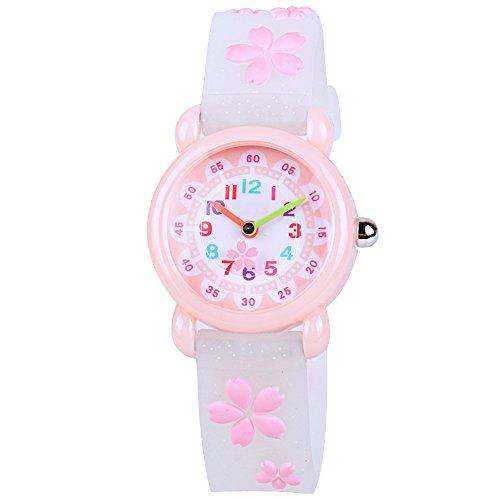 Time Teacher Watch (Venhoo Kids Watches Cartoon Waterproof Silicone Children Wristwatches Time Teacher Gifts for Boys Girls (Pure White Sakura))