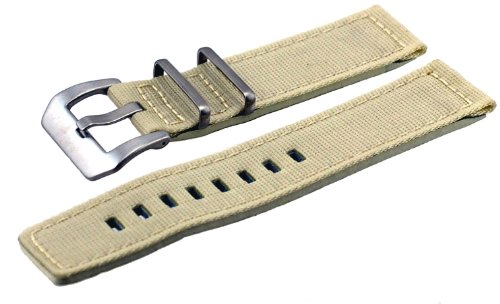 Italian Design 2 Piece Quality Textile Canvas 22mm Beige Pre-V Buckle Replacement Watch ()