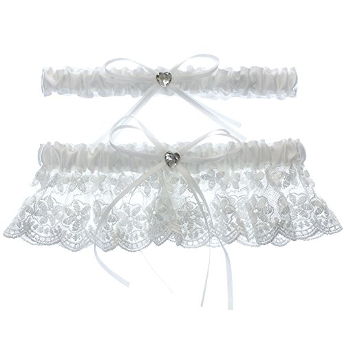 (DivaDesigns Floral Lace Ruffle Heart Shape Crystal Ribbon Wedding Garter Set with Toss Away White)