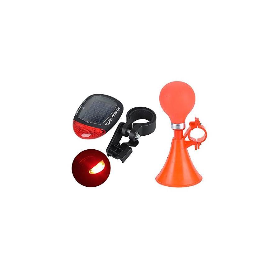 ezyoutdoor Classic Clown Bugle Metal Bike Horn, Solar Bike Tail Light,2 Pack Star Pattern Reflective Sticker, Aluminum Alloy Bicycle Horns Bike Bell Bike Bugle Trumpet Air Horn Mounting Bracket