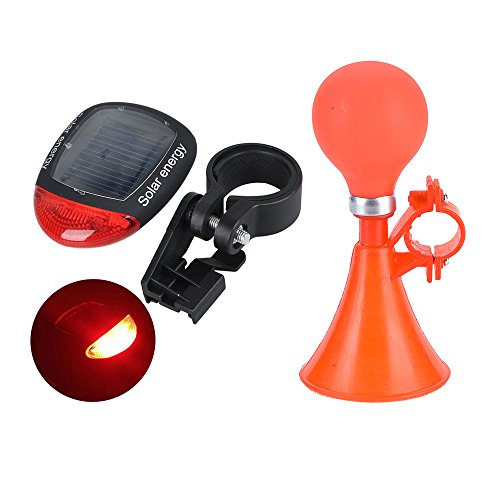 Ezyoutdoor Plastic Bicycle Horns Bike Bell Bike Bugle Trumpet Plastic Air Horn Mounting Bracket with Handlebar Bugle Rubber Bulb Bell Ring with Solar Bike Tail Light (Random Color)