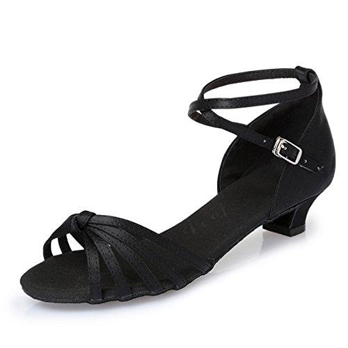 Danse Satin fait Noueurs de de Chaussures Latine Chaussures Noir Chaussures Danse Danse BYLE 36 Sandales Sangle MOU en de d'enfants Samba Latine cheville de adultes Fond Modern'Jazz de Cuir Tx0wgq4f