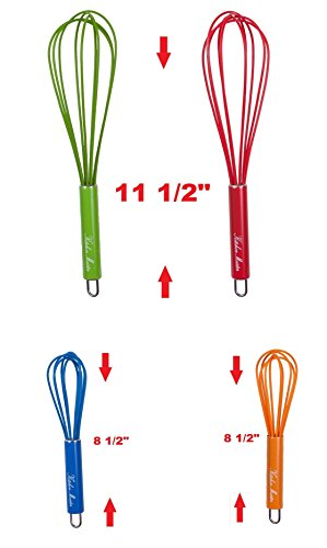 Silicone Coated Wire Whisk with Stainless Steel Handles, Set of 4, Colorful image