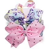 "Official JoJo Siwa"" Unicorn & Pink Diamante's"" 2 Pack Hair Clip Bow Set with Charms -"