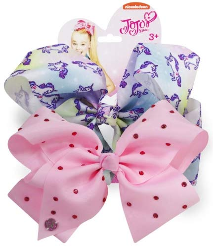 Official JoJo Siwa Unicorn & Pink Diamante's 2 Pack Hair Clip Bow Set with Charms - worldofhoisery