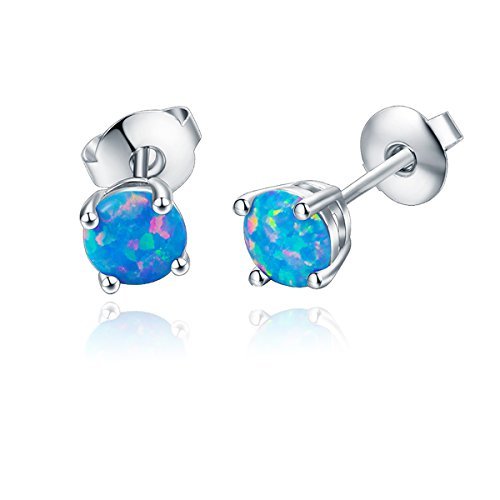 (Opal Stone Lady Stud Earrings Rhodium Plated 6mm Blue Color Opal Wedding Stud Earring)