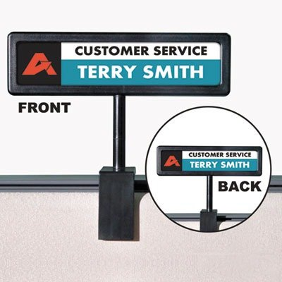 Advantusamp;reg; - People Pointer Cubicle Sign, Plastic, 9 x 2-1/2, Black - Sold As 1 Each - Create your own laser/inkjet sign from easy-to-use templates. (People Pointer Sign Cubicle)